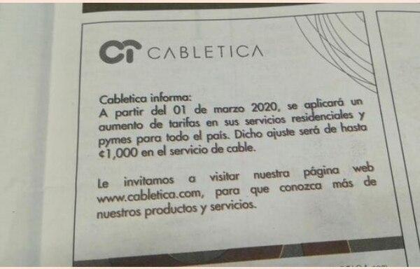 Este fue el anuncio hecho por Cabletica.Tomado de El Financiero