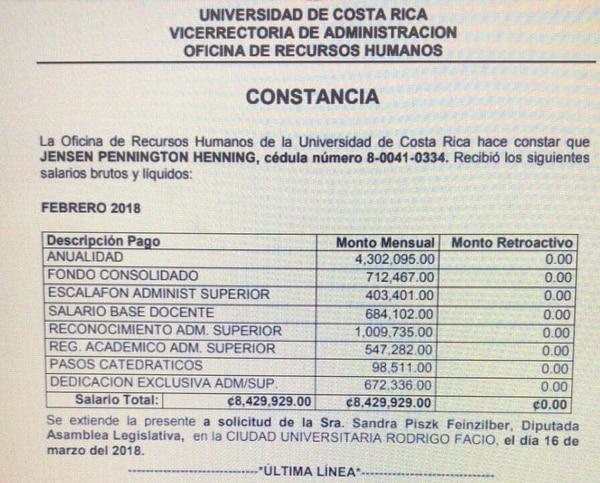 Salario Rector Universidad de Costa Rica Henning Jensen Pennington