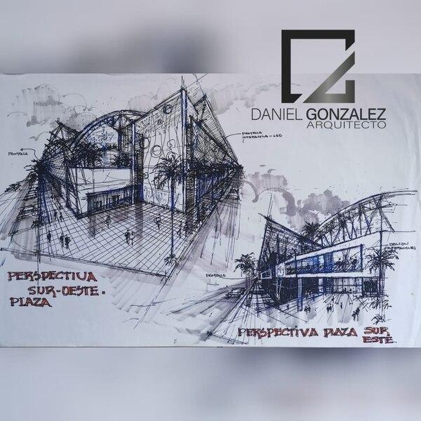 Estos son los bocetos que presentó el arquitecto Daniel González para el diseño del nuevo estadio del Herediano. Foto: Cortesía.