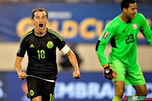 Andrés Guardado celebra el gol con que México eliminó a la Sele, en los Cuartos de Final de la Copa Oro 2015. Foto la selección.com.mx