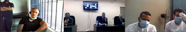 Ojos Bellos y parte de su clan escucharon la sentencia por videoconferencia. Foto: Ministerio Público