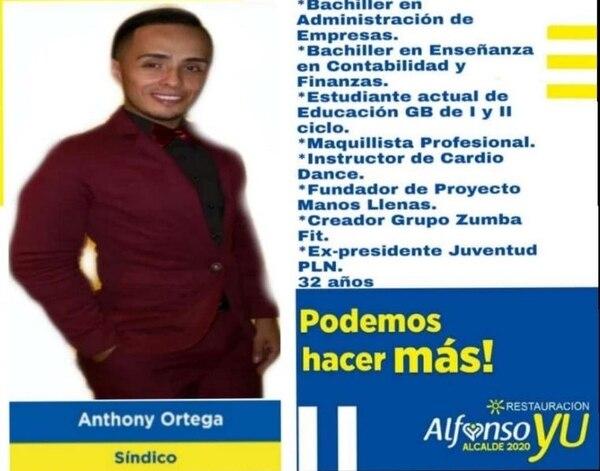 Este es el afiche con el que Anthony Ortega busca darse a conocer en Alajuelita. Foto: Cortesía