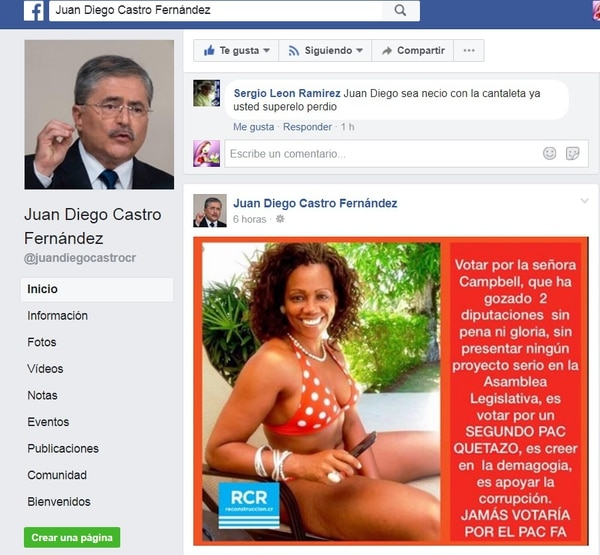 Mensaje político de Juan Diego en contra de Epsy Campbell con una foto de ella en vestido de baño. Tomado del Facebook de Juan Diego Castro.