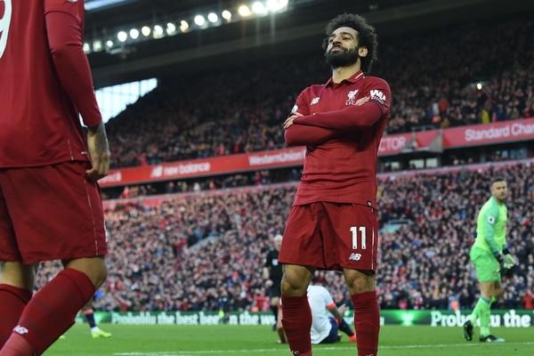 Así celebró el egipcio Mohamed Salah, su único gol contra el Bournemouth, este sábado. Era el 3-0 del Liverpool. AFP