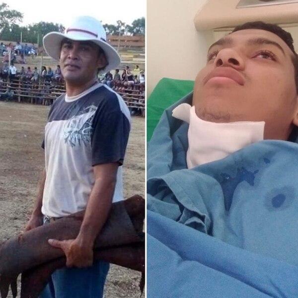 Heriberto Zamora y Kevin Viales sufrieron por la furia del toro. Foto: Cortesía de Deyvi Grijalba