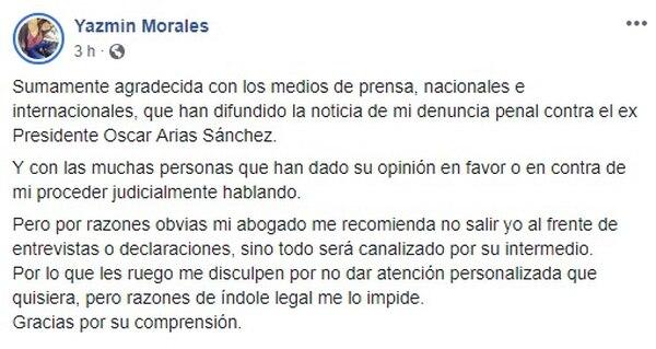 Así se refirió Yazmín al caso en su perfil de Facebook. Tomado de Facebook