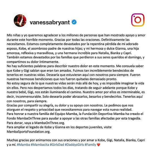 Vanessa Bryant, esposa de Kobe, se manifestó en redes sociales