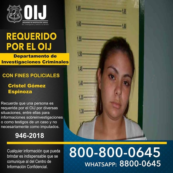 """Cristel Yariella Gómez Espinoza, de 23 años, alias la """"Reina del sur"""" pareciera que se está escondiendo en Panamá. Foto: OIJ"""