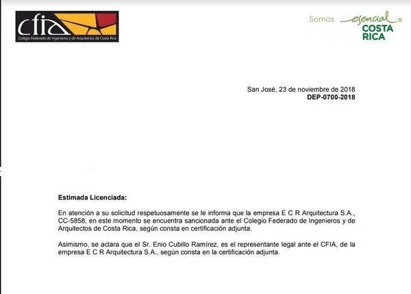 El CFIA confirmó que la empresa ECR está en este momento suspendida. Foto: La Teja