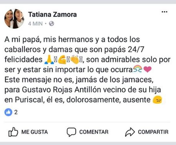 Tatiana Zamora le tiró a Gustavo Rojas en Facebook. Pantallazo