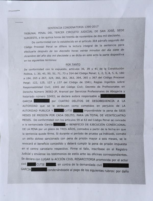 La sentencia condenatoria 1390-2017 detalla lo dispuesto por el Tribunal Penal del Tercer Circuito Judicial de San José. Foto Diana Méndez.