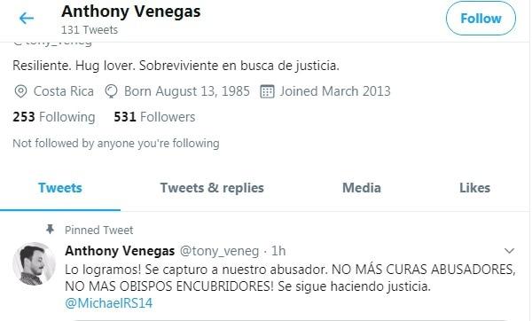 Anthony Venegas se desahogó en twitter sobre la captura del sacerdote Mauricio Víquez Lizano. Foto: Tomado de twitter