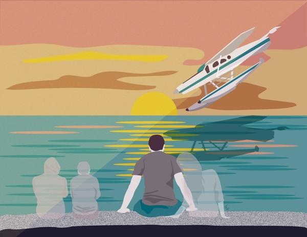 Don Ruetz, expolicía estadounidense que perdió a su esposa y dos hijos en trágico accidente aéreo ocurrido en Flamingo. Ilustración de Francela Zamora.